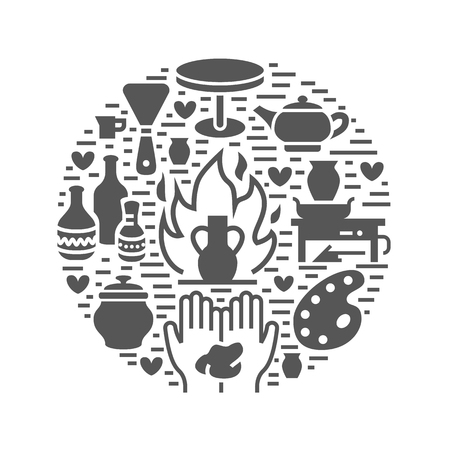 Pottery workshop, ceramics classes banner illustration. Vector glyph icon of clay studio tools. Hand building, sculpturing equipment. Art shop circle template.