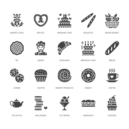 Bakery, confectionery flat glyph icons. Sweet shop products cake, croissant, muffin, pastry cupcake, pie. Food signs, bread house. Solid silhouette pixel perfect 64x64. 일러스트