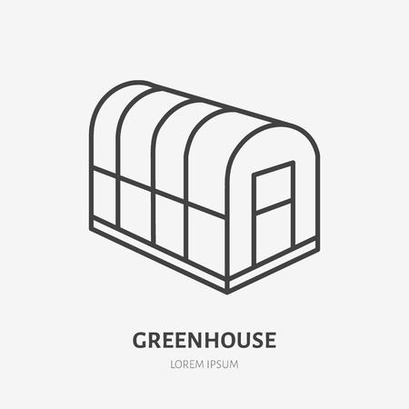 Greenhouse flat line icon Illustration