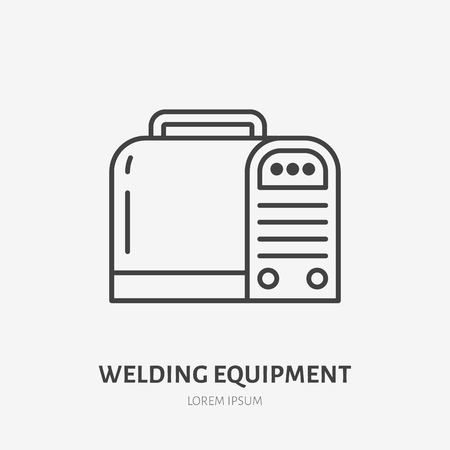 Welding equipment flat line icon. Metal works sign. Thin linear logo for indastrial tools store, welder services.