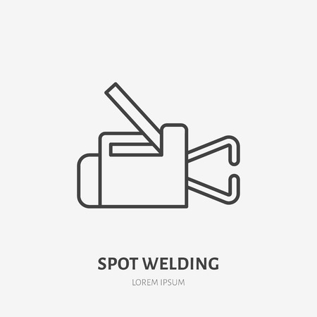 Spot welding equipment flat line icon. Metal works sign. Thin linear logo for indastrial tools store, welder services. 向量圖像