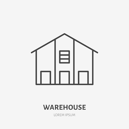 Warehouse flat line icon. Storage building sign. Thin linear logo for cargo trucking, freight services. Ilustrace