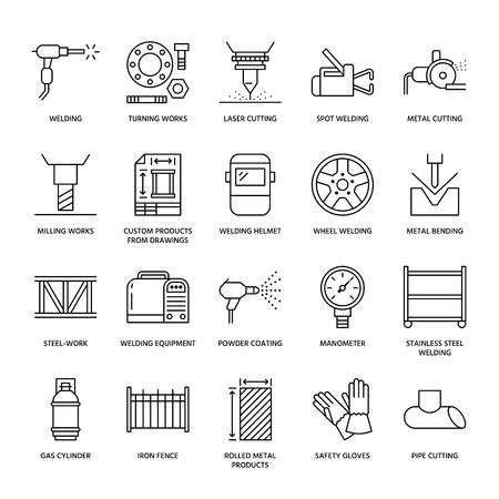 Flache Linien-Symbole für Schweißdienste. Walzmetallprodukte, Stahlarbeiten, Laserschneiden aus rostfreiem Stahl, Herstellung, Dreharbeiten, Sicherheitsausrüstung, Pulverbeschichtung. Industrie dünnes Zeichen für Schweißerdienstleistungen.