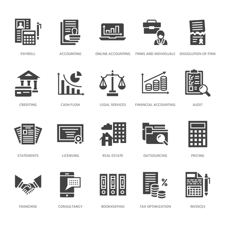 Financial accounting flat glyph icons. Bookkeeping, tax optimization, firm, accountant outsourcing, payroll, real estate crediting. Accountancy finance signs. Solid silhouette pixel perfect 64x64.
