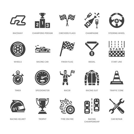 Car racing vector flat glyph icons. Speed auto championship signs - track, automobile, racer, helmet, checkered flags, steering wheel, start. Solid silhouette pixel perfect 64x64. Illustration