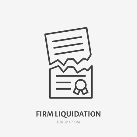 Firm liquidation flat line icon. Agreement cancellation, torn paper sign. Thin linear logo for legal financial services, attorney.