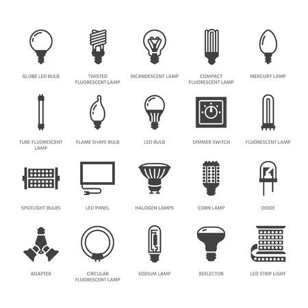 Icônes de glyphe plat ampoules. Types de lampes à LED, fluorescentes, à filament, halogène, diode et autre éclairage. Signes linéaires minces pour concept d'idée, magasin électrique. Pixel de silhouette solide parfait 64x64. Vecteurs