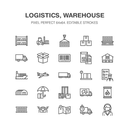 Cargo transportation flat line icons Trucking, express delivery, logistics, shipping, customs clearance, package, tracking labeling symbols. Transport thin signs freight services.