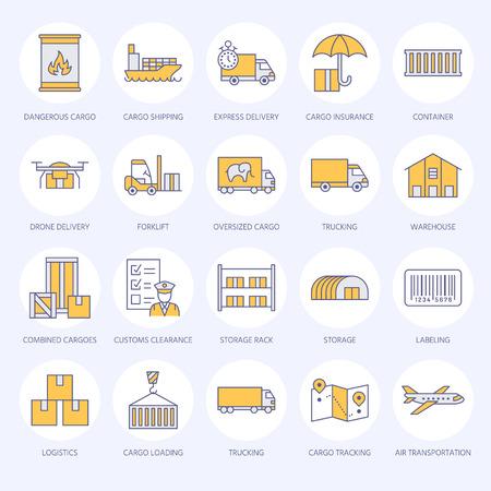 貨物輸送フラットラインアイコン。トラック輸送、宅配、物流、出荷、通関、貨物パッケージ、追跡およびラベル付けシンボル。貨物サービスのための輸送薄い看板。