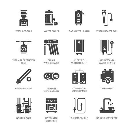 Caldaia ad acqua, termostato, riscaldatori solari a gas elettrici e altre icone del glifo con apparecchi di riscaldamento domestico. Segni del negozio di attrezzature. Pixel di sagoma solida perfetto 64x64.