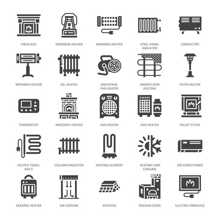 Oil heater, fireplace, convector, panel column radiator and other house heating appliances glyph icons. Home warming pictogram. Equipment store signs. Solid silhouette pixel perfect 64x64. 免版税图像 - 102224636