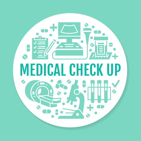 Medical check up blue poster template. Vector flat glyph icons, illustration of health care center, equipment, mri, ultrasound, blood test, microscope. Healthcare, diagnostics clinic banner.