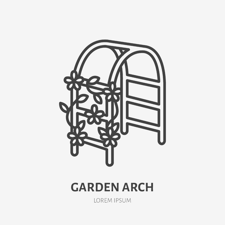 Garden arch with clambering plant flat line icon. Wedding flower decorations sign. Thin linear logo for gardening, planting. Stock Illustratie