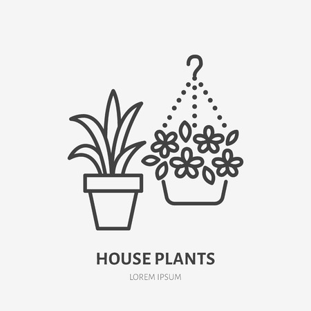House flowers in flower pots flat line icon. Plants growing in flowerpot sign. Thin linear logo for gardening, planting.