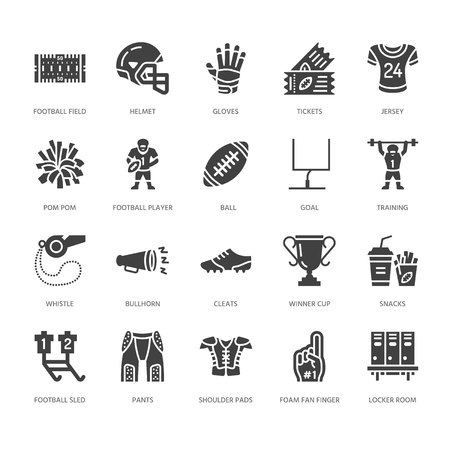 American football, rugby vector flat glyph icons. Sport game elements - ball, field, player, helmet, fan finger snacks. Signs set, championship pictogram. Solid silhouette pixel perfect 64x64. Illustration