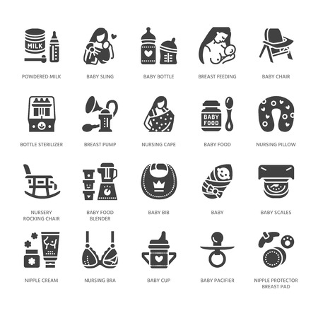 Allaitement maternel, icônes de glyphe plat vecteur nourriture bébé. Éléments d'allaitement maternel - pompe, femme, enfant, lait en poudre, stérilisateur de biberons, oreiller d'allaitement. Maternité. Pixel de silhouette solide parfait 64x64.
