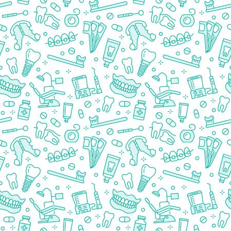 Zahnarzt, Kieferorthopädie nahtloses Muster mit Linienikonen. Zahnpflege, medizinische Geräte, Zahnspangen, Zahnprothesen, Zahnseide, Kariesbehandlung, Zahnpasta. Blauer Hintergrund des Gesundheitswesens für Zahnklinik.
