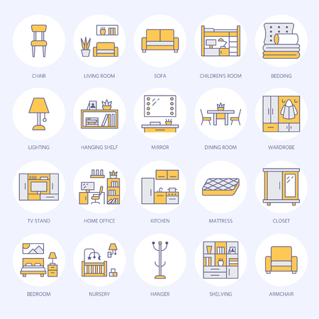 Furniture vector flat line icons. Living room tv stand, bedroom, home office, kitchen corner bench, sofa, nursery, dining table, bedding. Thin signs collection for modern interior store. Vettoriali