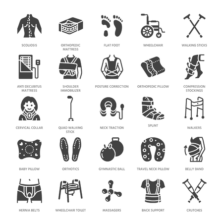 Orthopedics, trauma rehabilitation glyph icons. Crutches, mattress pillow, cervical collar, walkers, medical rehab goods. Health care signs for clinic, hospital. Solid silhouette pixel perfect 64x64. Ilustração