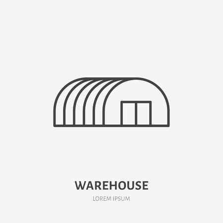 Warehouse flat line icon. Storage building, hangar sign. Thin linear logo for cargo trucking, freight services. Ilustrace