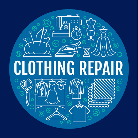 Clothing repair, alterations studio equipment banner illustration. Vector line icons of tailor store services - dressmaking, dress, garment sewing. Clothes atelier blue circle poster template. Stock Photo