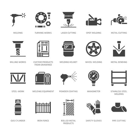 Icone del glifo piatto servizi di saldatura. Prodotti in metallo laminato, carpenteria metallica, taglio laser di acciaio inossidabile, fabbricazione, attrezzature di sicurezza. Segno di industria per saldatore. Pixel di sagoma solida perfetto 64x64.