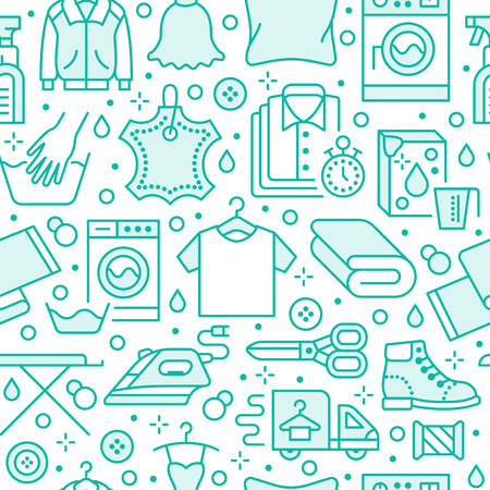 Dry cleaning, laundry blue seamless pattern with line icons. Laundromat service equipment, washing machine, clothing shoe and leaher repair, garment ironing and steaming. Background for launderette. Ilustração