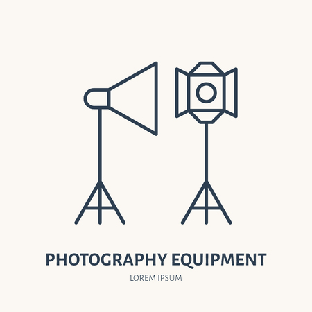 Light modifiers flat line icon. Photography equipment sign. Thin linear logo for photo studio.