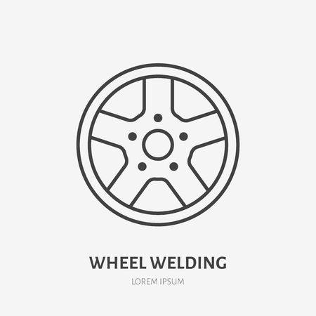 Car wheels flat line icon. Disks welding sign. Thin linear logo for welding services.