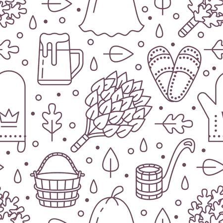 Sauna, steam bath room seamless pattern with line icons.Bathroom equipment birch, oak broom, bucket, beer. Finnish, russian banya. Health care background for spa center. Illustration