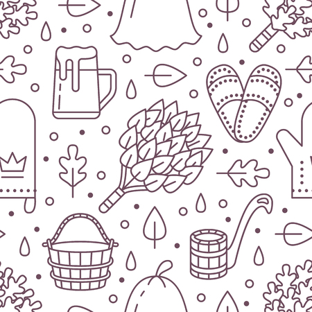 Sauna, steam bath room seamless pattern with line icons.Bathroom equipment birch, oak broom, bucket, beer. Finnish, russian banya. Health care background for spa center. Ilustração