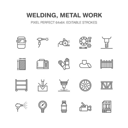 Welding services flat line icons. Rolled metal products, steelwork, stainless steel laser cutting, fabrication, safety equipment. Industry outline sign for welder. Pixel perfect 64x64. Illustration