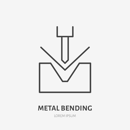 Metal bending flat line icon. Iron works sign. Thin linear logo for metalwork service. Illustration