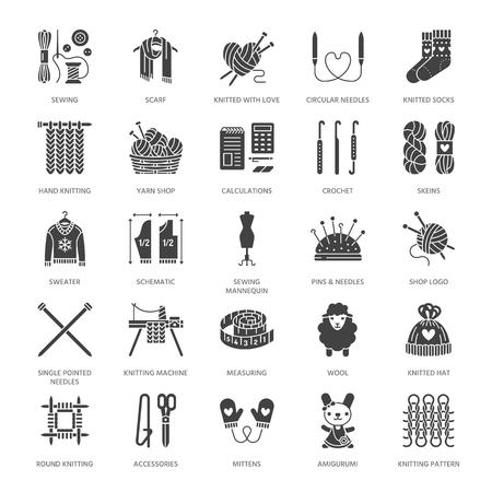 Knitting, crochet, hand made flat glyph icons set. Needle, hook scarf, socks, pattern, wool skeins, DIY equipment. Signs, logo for yarn or tailor store. Solid silhouette pixel perfect 128x128.