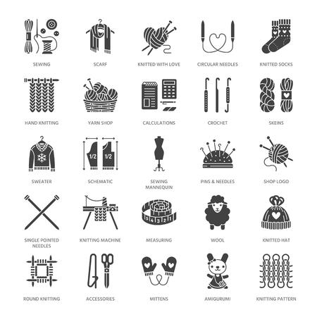 Tricot, crochet, jeu d'icônes de glyphe plat fait à la main. Aiguille, écharpe à crochet, chaussettes, motif, écheveaux en laine, matériel de bricolage. Signes, logo pour fil ou magasin de couture. Pixel de silhouette solide parfait 128x128.