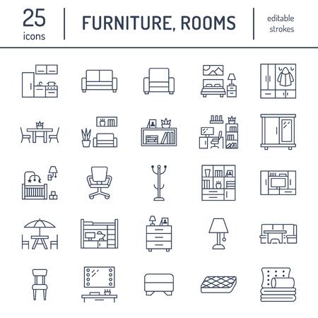 Iconos de línea plana de vector de muebles. Soporte de tv para sala de estar, dormitorio, oficina en casa, banco de esquina de cocina, sofá, guardería, mesa de comedor, ropa de cama. Colección de letreros finos para tienda interior moderna.