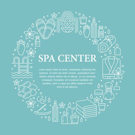 Spa center banner illustration with flat line icons. Essential oils, aromatherapy massage, turkish steam bath hamam sauna, swimming pool. Circle template thin linear signs body treatments. Illustration