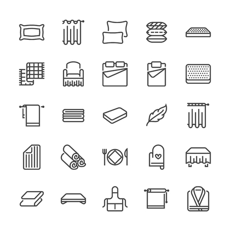 Icônes de ligne plate de literie. Matelas orthopédiques, linge de chambre, oreillers, ensemble de draps, illustrations de couvertures et couettes. Panneaux minces pour magasin d'intérieur. Pixel parfait 48x48. Vecteurs