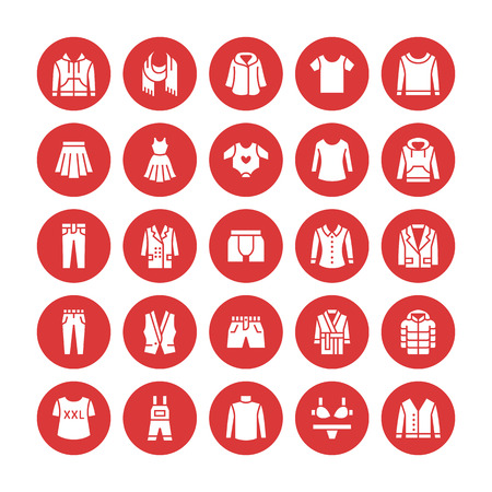 Clothing, fasion flat glyph icons. Mens, womens apparel - dress, down jacket, jeans, underwear, sweatshirt, t-shirt. Silhouette signs for clothes and accessories store. Pixel perfect 64x64 in circle.