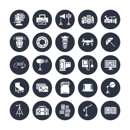 Photography equipment flat glyph icons. Digital camera, lighting, video cameras, accessories, memory card. Vector illustration, signs for photo studio. Solid silhouette pixel perfect 64x64 in circles.