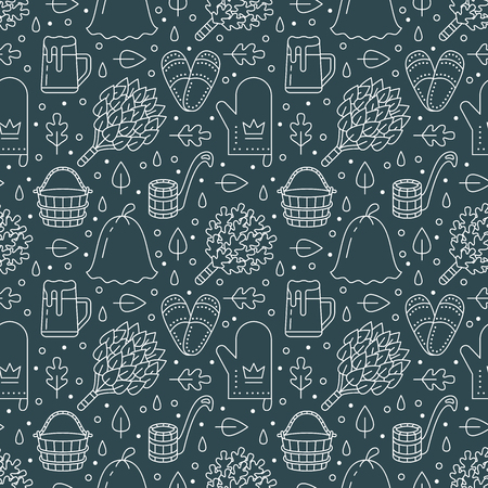 Sauna, steam bath room dark seamless pattern with line icons.Bathroom equipment birch, oak broom, bucket, beer. Finnish, russian banya. Health care green background for spa center.