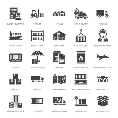 Cargo transportation flat glyph icons Trucking, express delivery, logistics, shipping, customs , package, tracking symbols. Transport signs freight services. Solid silhouette pixel perfect 64x64.
