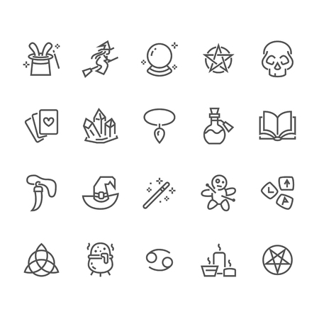 Magic flat line icons. Witch flying flying on broomstick, fortune teller, magician, wizard wand illustration. Wicca, voodoo. Thin signs for witchcraft store. Pixel perfect 48x48. Editable Strokes. Illustration