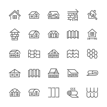 Roofing flat line icons. House construction, roofs sheathing varieties, tile, chimney, insulation architecture illustrations. Thin signs for repair service. Pixel perfect 48x48. Editable Strokes.