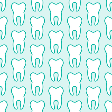 Dentist, orthodontics blue white seamless pattern with tooth line icons. Dental treatment. Health care, cute medical background for dentistry clinic.