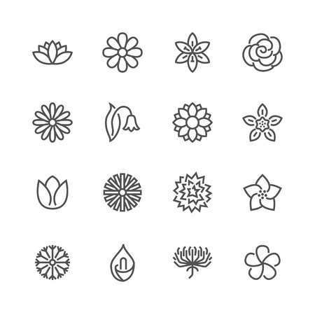 Flowers flat line icons. Beautiful garden plants - chamomile, sunflower, rose flower, lotus, carnation, dandelion, violet blossom. Thin signs for floral store. Pixel perfect 48x48. Editable Strokes Ilustracja