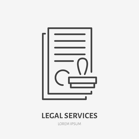 Agreement flat line icon. Paper documents with stamp sign. Thin linear logo for legal financial services, accountancy. Illustration