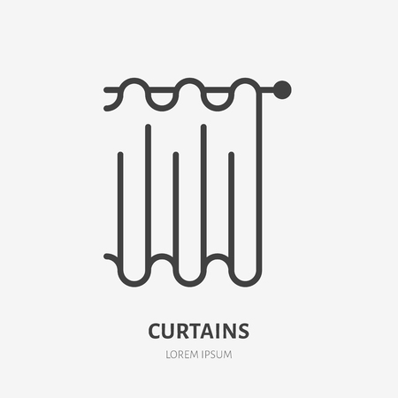 Curtains flat line icon. Bathroom curtain sign. Thin linear logo for interior store. Vectores
