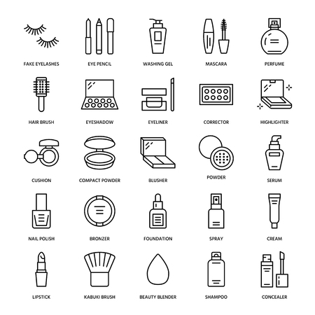 Makeup beauty care flat line icons. Cosmetics illustrations of lipstick, mascara, powder, eyeshadows, cushion foundation, nail polish, hair brush shampoo. Thin signs for make up store Editable Strokes