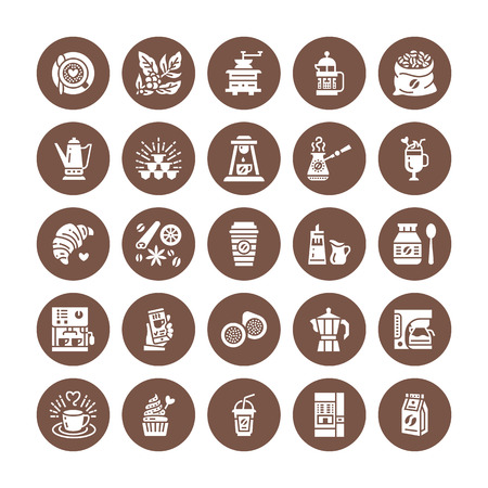 Coffee making equipment flat glyph icons. Elements - moka pot french press, grinder, espresso, vending, plant, croissant. Restaurant, shop pictogram. Solid silhouette pixel perfect 64x64. Ilustração